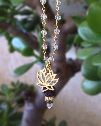 Gold Lotus on Quartz Gem Chain with Lava Charm.