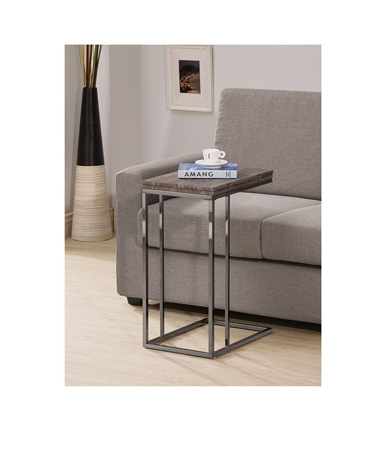 322d63c2b5c Amazon.com  Weathered Grey Finish Expandable Snack Side End Table  Home    Kitchen