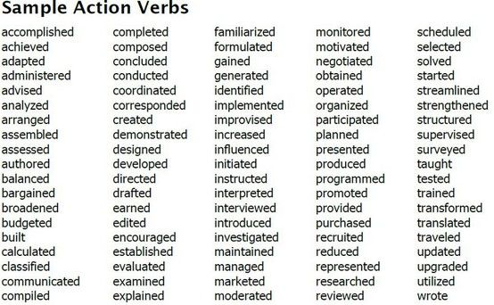 Some Sample Action Verbs You Can Choose From Action