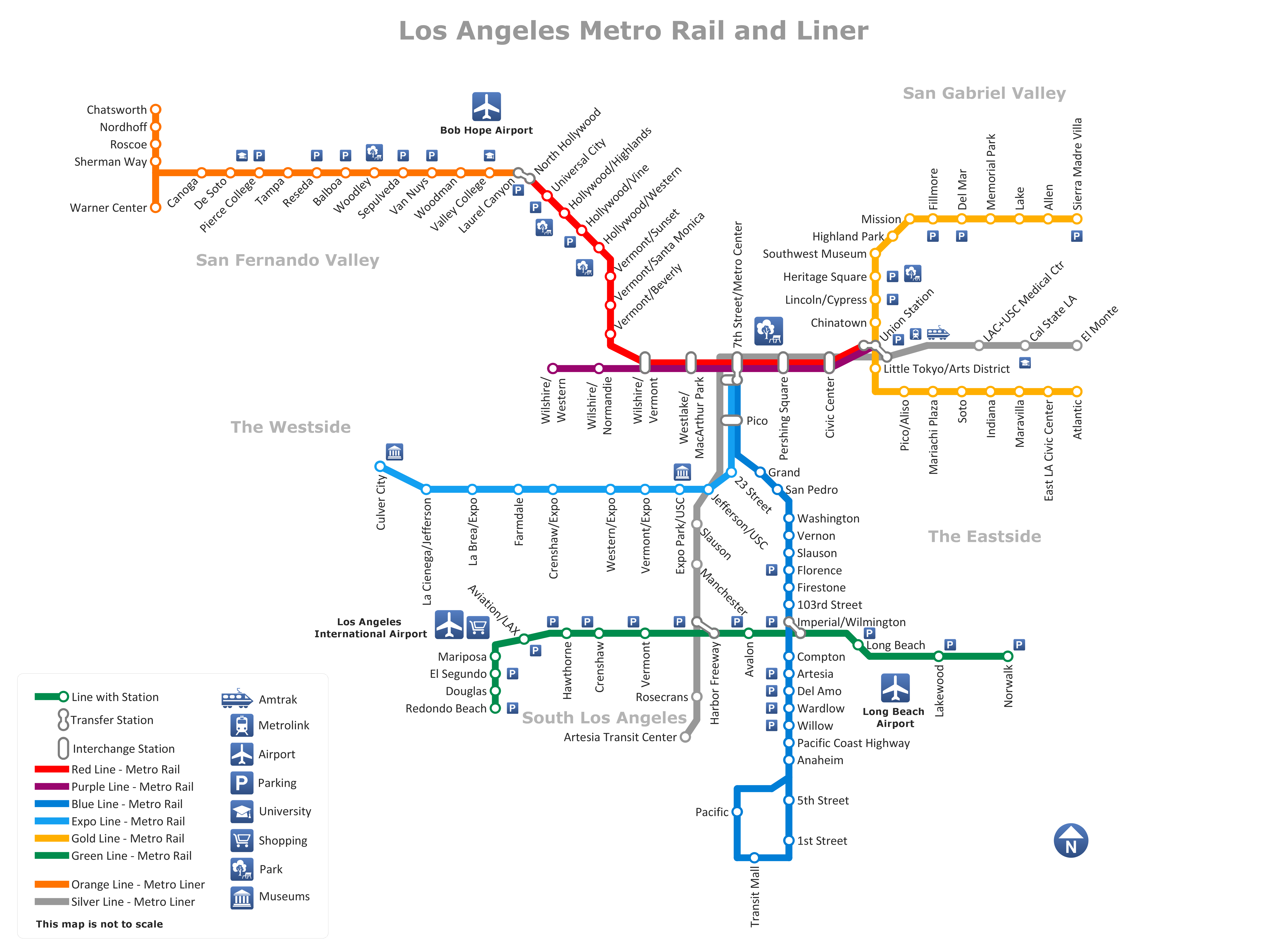 metro rail and liner los angeles map www conceptdraw com rh pinterest com
