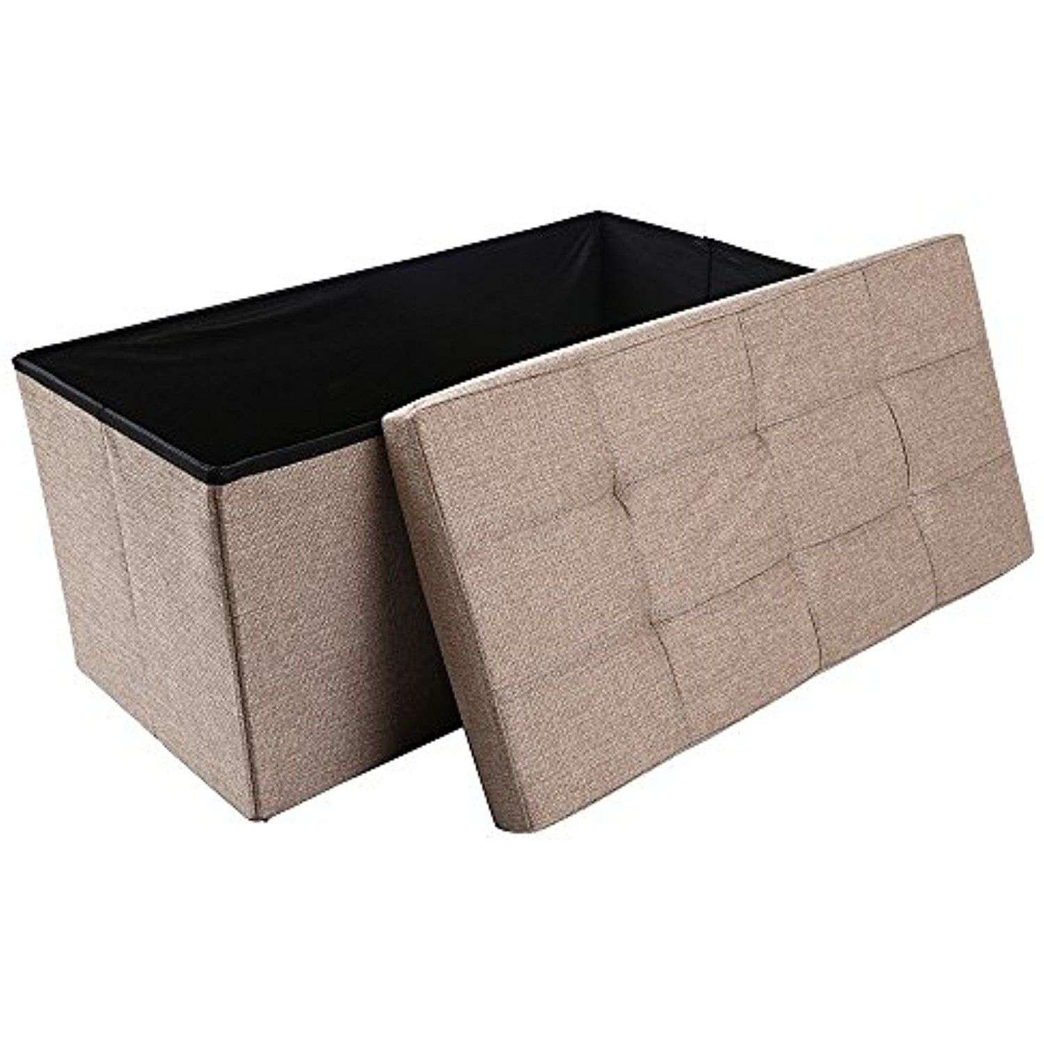 Super Storage Ottoman Folding Storage Bench Linen Like Fabric And Forskolin Free Trial Chair Design Images Forskolin Free Trialorg