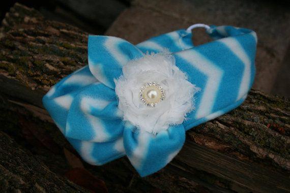 Girls Blue Chevron Fleece Ear Warmer with Flower, Ear Warmer, Fleece Ear Warmer, Toddler Ear Warmer, Ear Warmer Headband