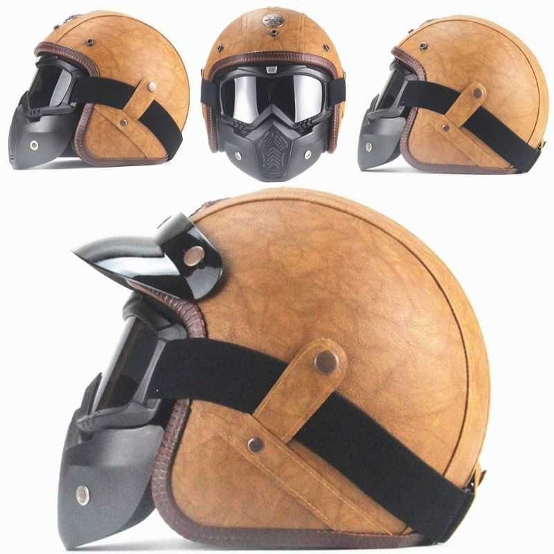 Vintage Open Face 3 4 Cafe Racer Light Brown Pu Leather Helmet With Goggles And Mask Leather Motorcycle Helmet Motorcycle Helmets Vintage Leather