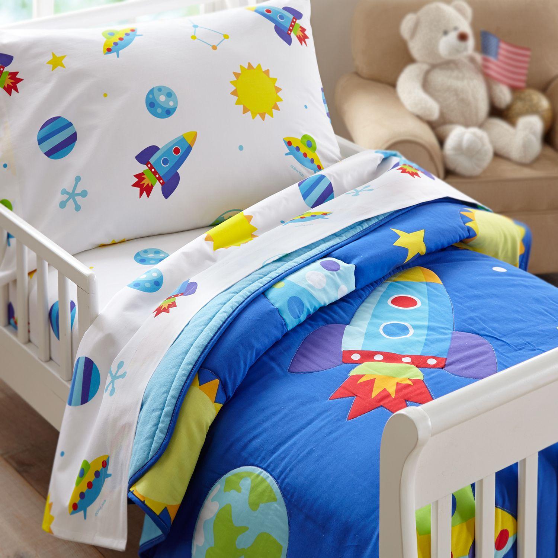 Uncategorized Space Toddler Bed outer space rocket planets toddler boy bedding blue comforter or bed in a bag set