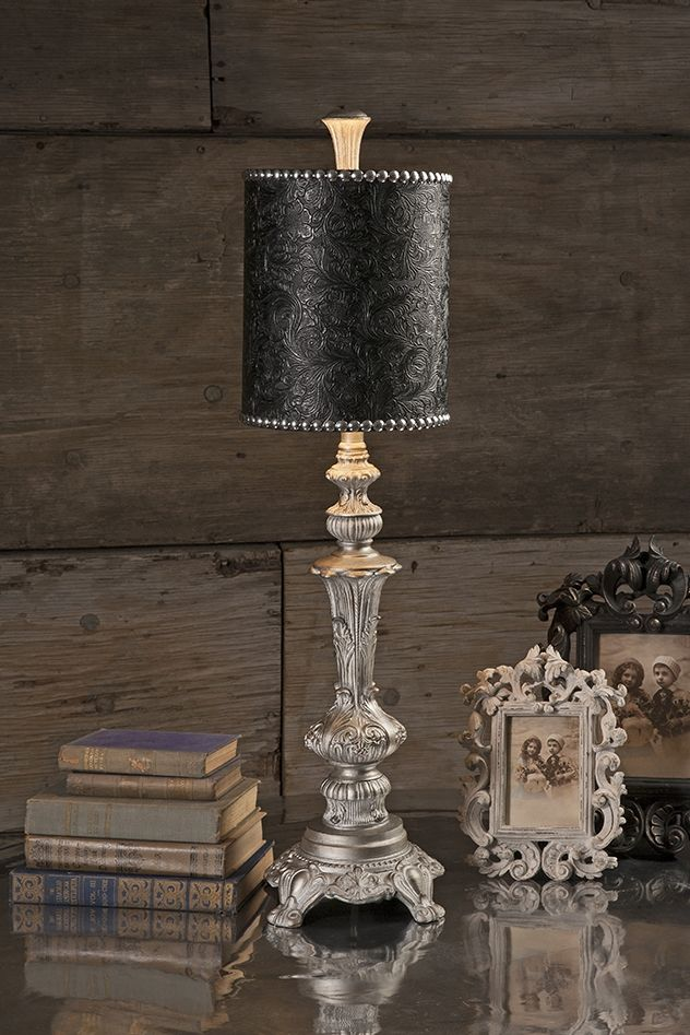 Tall Table Lamp Black Floral Shade Silver Leaf Finish 32 H New Free Shipping Table Lamps Tall Table Lamps Black Table Lamps Lamp