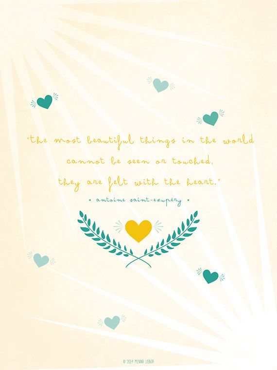 The Little Prince Quote, Inspirational Quote, Love Print, Yellow Heart,  Nursery Decor