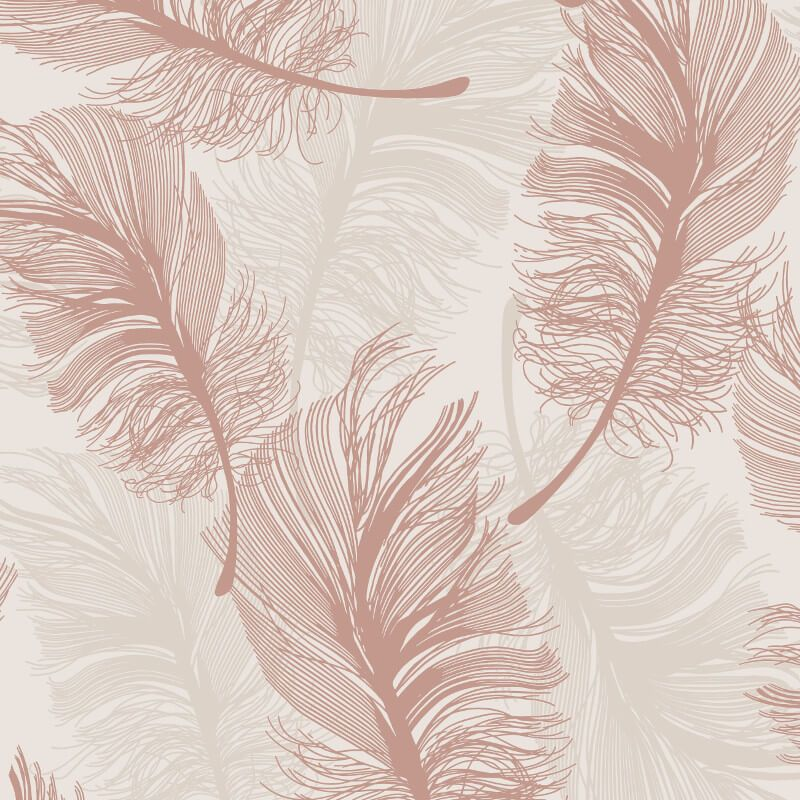 Crown Plume Foil Rose Gold Wallpaper M1391 Feature Metallic Shimmer Feathers