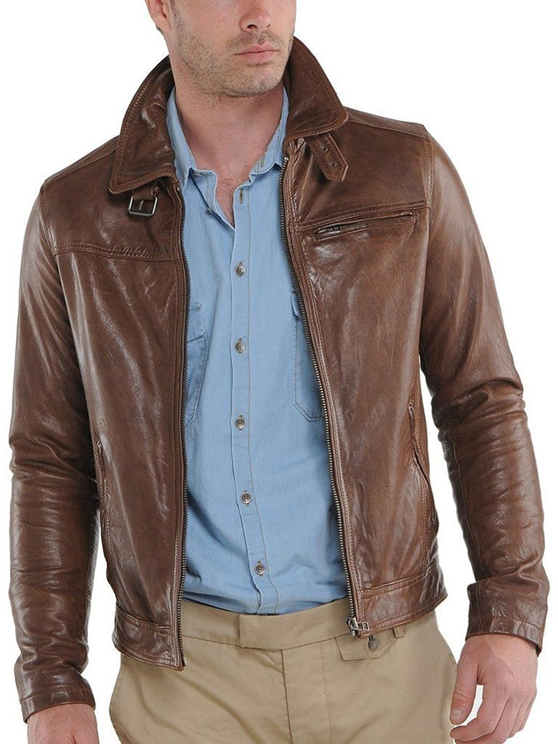 Pristine Leather Mens Slim Lambskin Leather Motorcycle Biker Overcoat