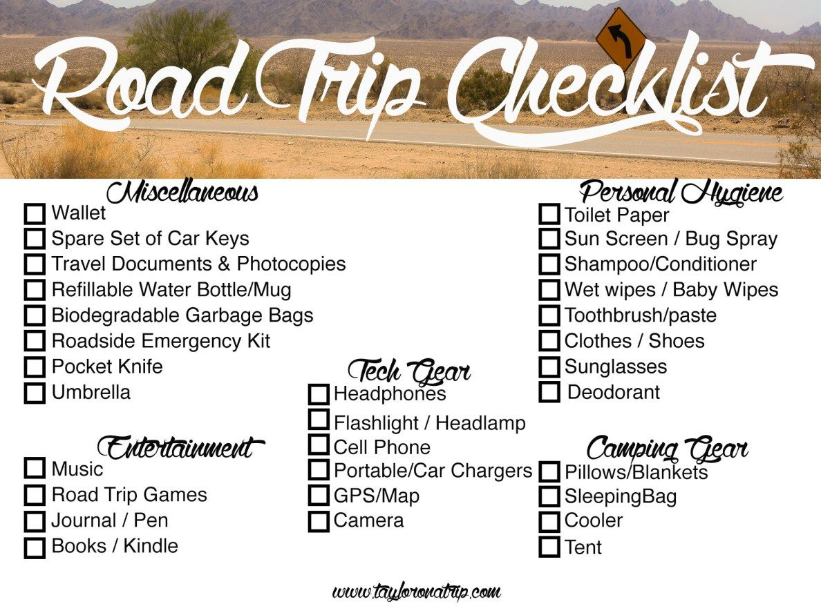 The Ultimate Road Trip Packing  Checklist  Road Trip Packing