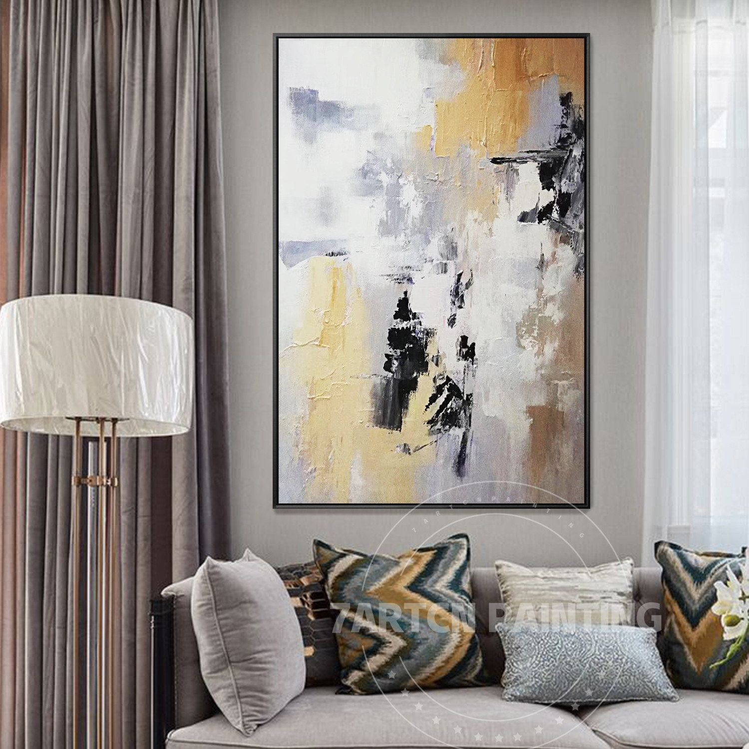 Abstract grey yellow art framed canvas painting acrylic