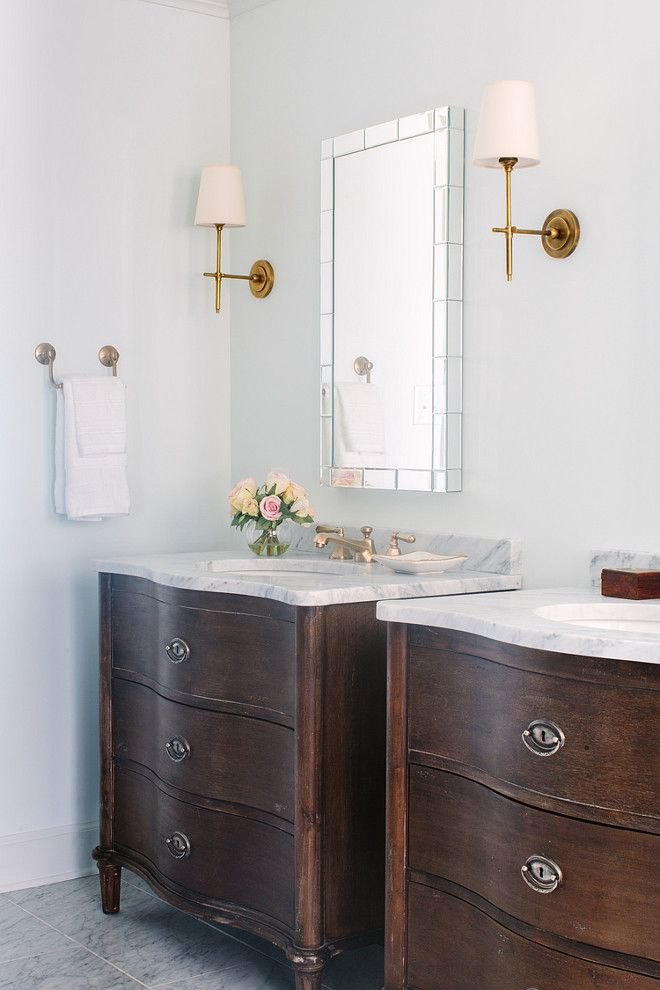 Bathroom Bathroom With Tiled Mirrors Flanked By Thomas O Brien