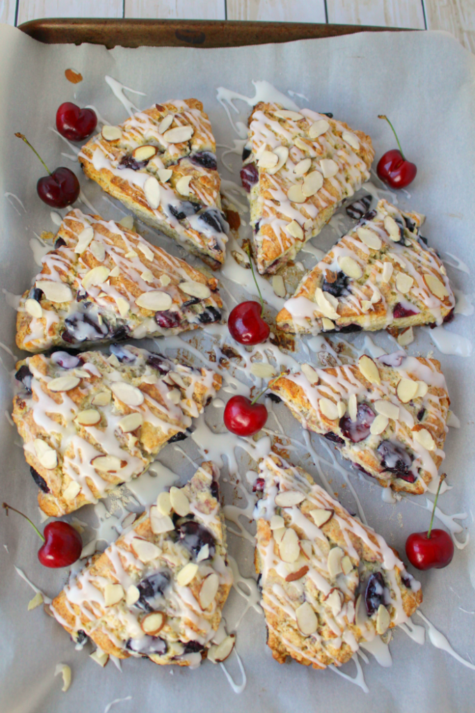 Stuffed with fresh cherries, sliced almonds, and drizzled