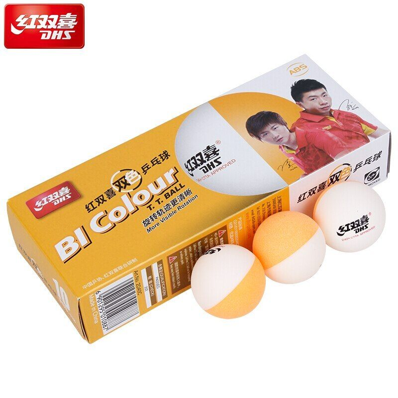 Dhs Table Tennis Ball Bi Colour 2018 New Material Double Color Seamed Abs D40 Plastic Ping Pong Poly Tenis De Mes Tennis Ball Table Tennis Table Tennis Rubber