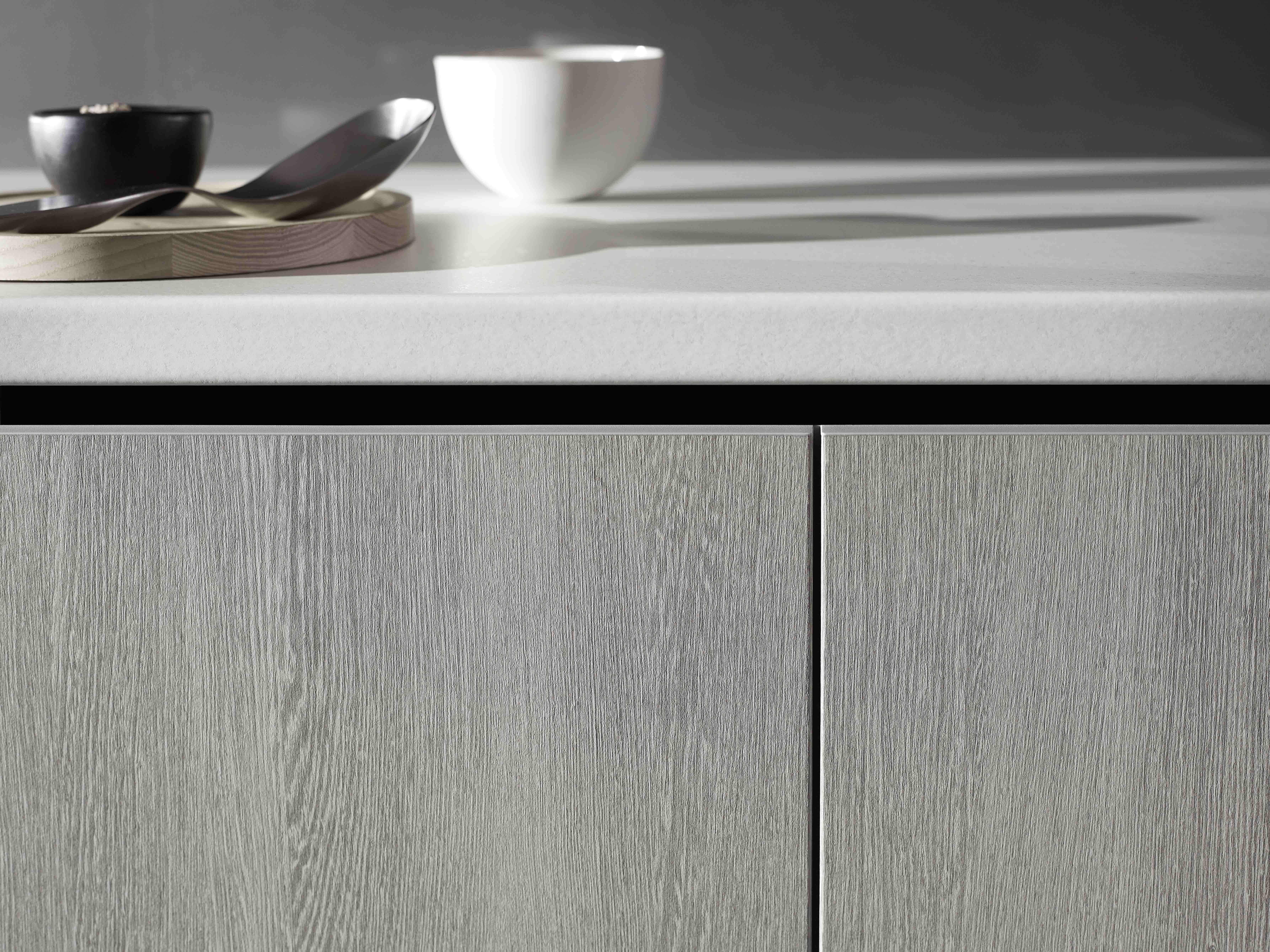Benchtop Laminex Impressions Fresh Snow Spark finish and base cupboard doors and panels Laminex Impressions Bleached Wenge Riven finish. & Benchtop Laminex Impressions Fresh Snow Spark finish and base ...