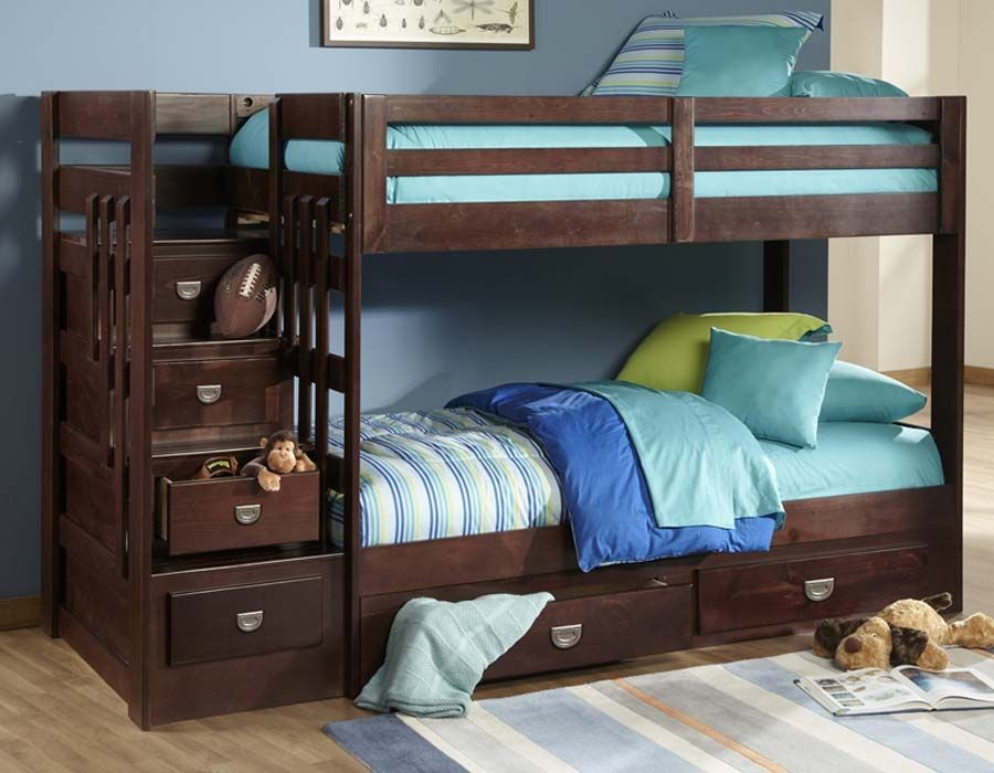 Featuring Two Comfy Twin Size Beds And A Deep Merlot Finish To