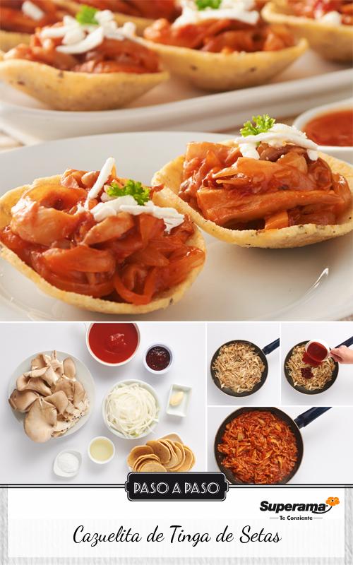 #CazuelitasDeTinga Calienta una cacerola con 3 cucharadas de aceite y agrega 1 cebolla rebanada, 1 diente de ajo picado y cocina hasta que se vean transparentes. Añade 300g de setas rebanadas y cocina por 5 minutos hasta que suavicen un poco. Agrega ¾ de taza de puré de tomate, 3 chiles chipotles adobados picados, 1 cdta. de sal y cocina por 5 minutos más o hasta que el jitomate se sazone. Sirve una porción de las setas sobre cazuelitas de maíz y espolvorea con queso fresco rallado.