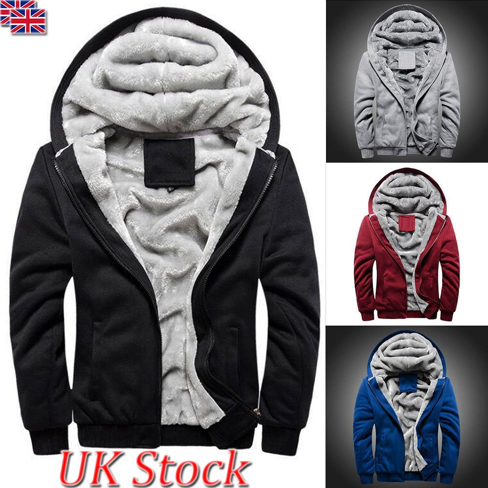 Fur Lined Winter Hoodie Jacket Thick Sherpa Fleece Hooded Sweater Coat Parka Men