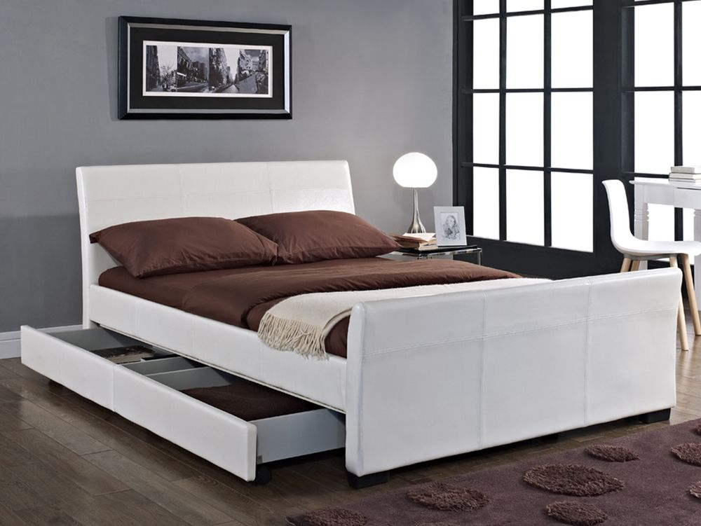 New Stunning Double King Size Faux Leather Sleigh Bed In Brown Black And White With  Drawers Ideal For Extra Storage White King Size