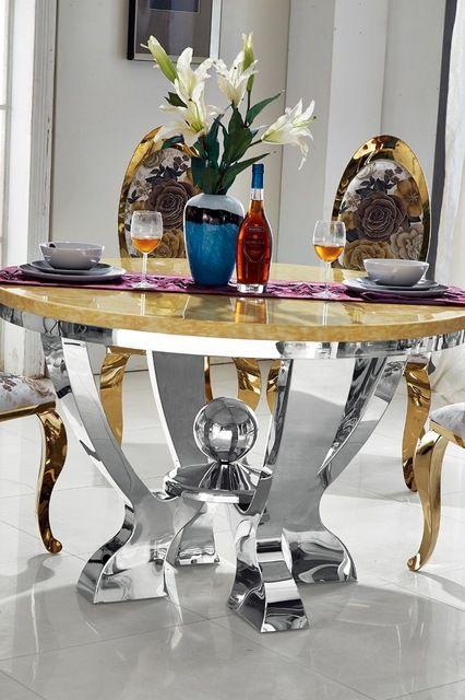 Redondo de la manera simple mesa de comedor superior de mármol de ...