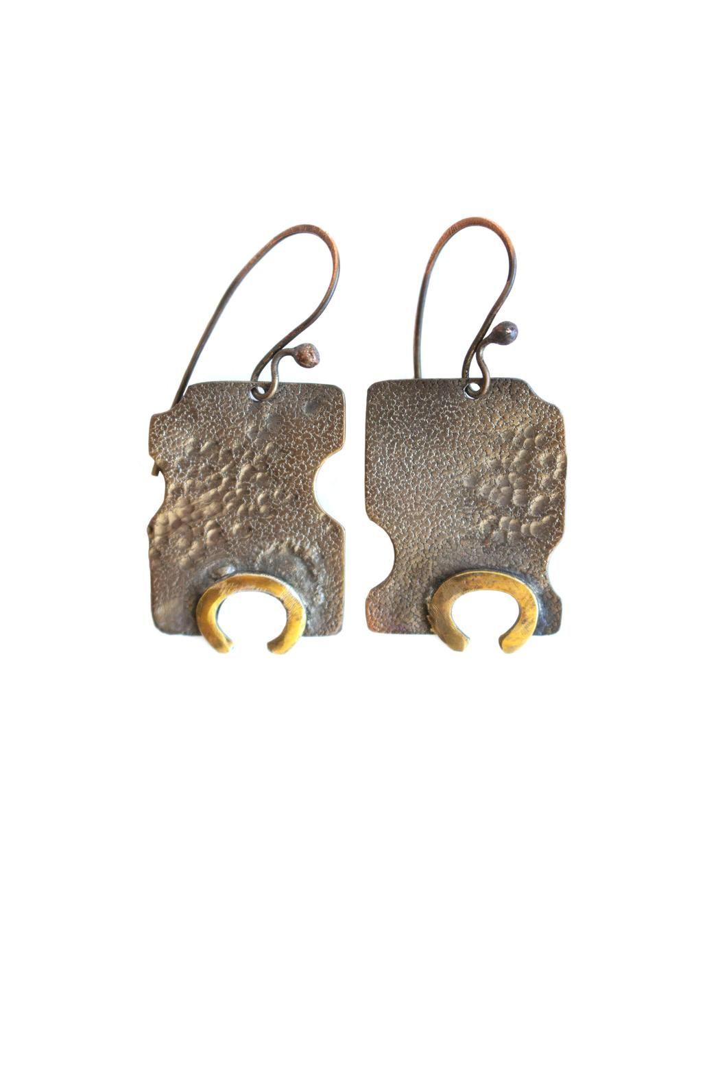 """Copper & brass earrings.  Measurements: 3/4"""" W, 1 3/4"""" L (bottom to ear wire)   Earrings by Lococina. Accessories - Jewelry - Earrings Canada"""