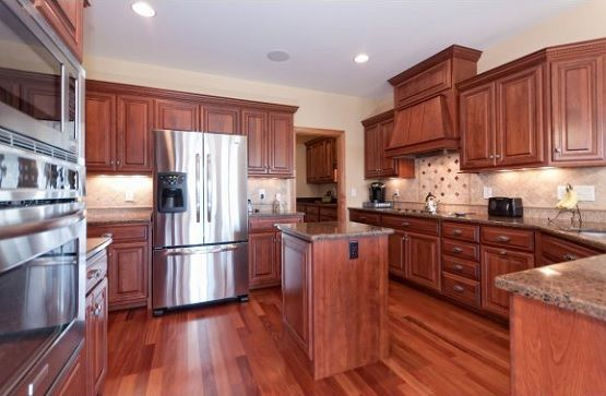 Solid cherry laminate floor in kitchen Flooring Ideas Floor