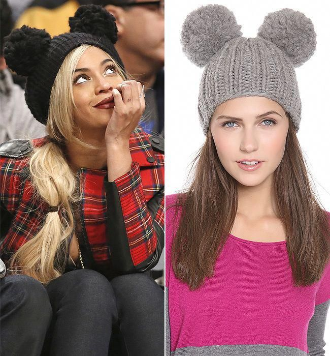 c8a371c7526 Beyoncé is totes adorbs at the Nets v. 76ers game wearing a Eugenia Kim   Mimi  double pom pom beanie.  totesadorbs