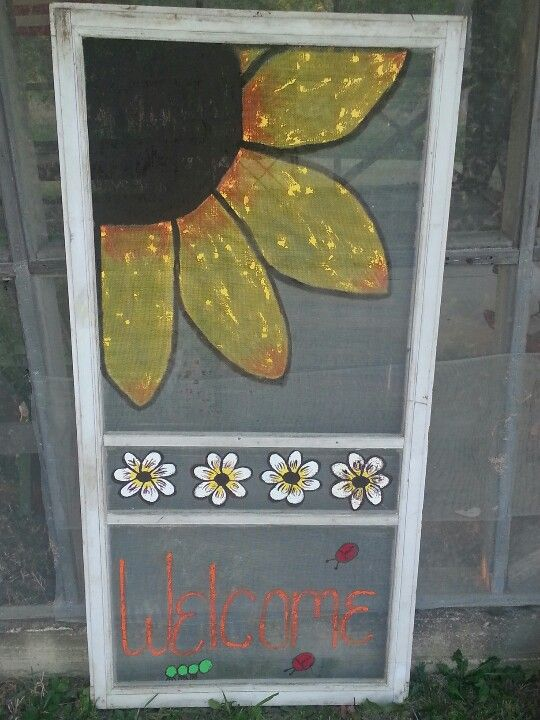Pin By Amy Larson On Gardening And Flowers Painted Screen Doors Screen Painting Window Crafts