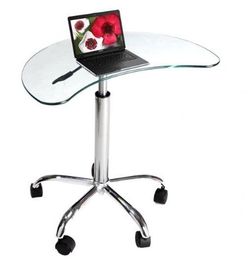 Glass Laptop Cart Computer Stand Coffee Table Furniture Mobile Tray Desk  Shelves