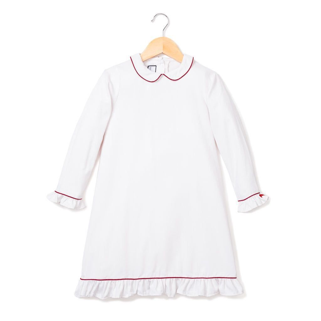 b4e39a995547 White Sophia Nightgown with Burgundy Piping from Petite Plume  kids   sleepwear  pjs  pajamas  pink  red  christmas  winter  gift  children   kidswear ...
