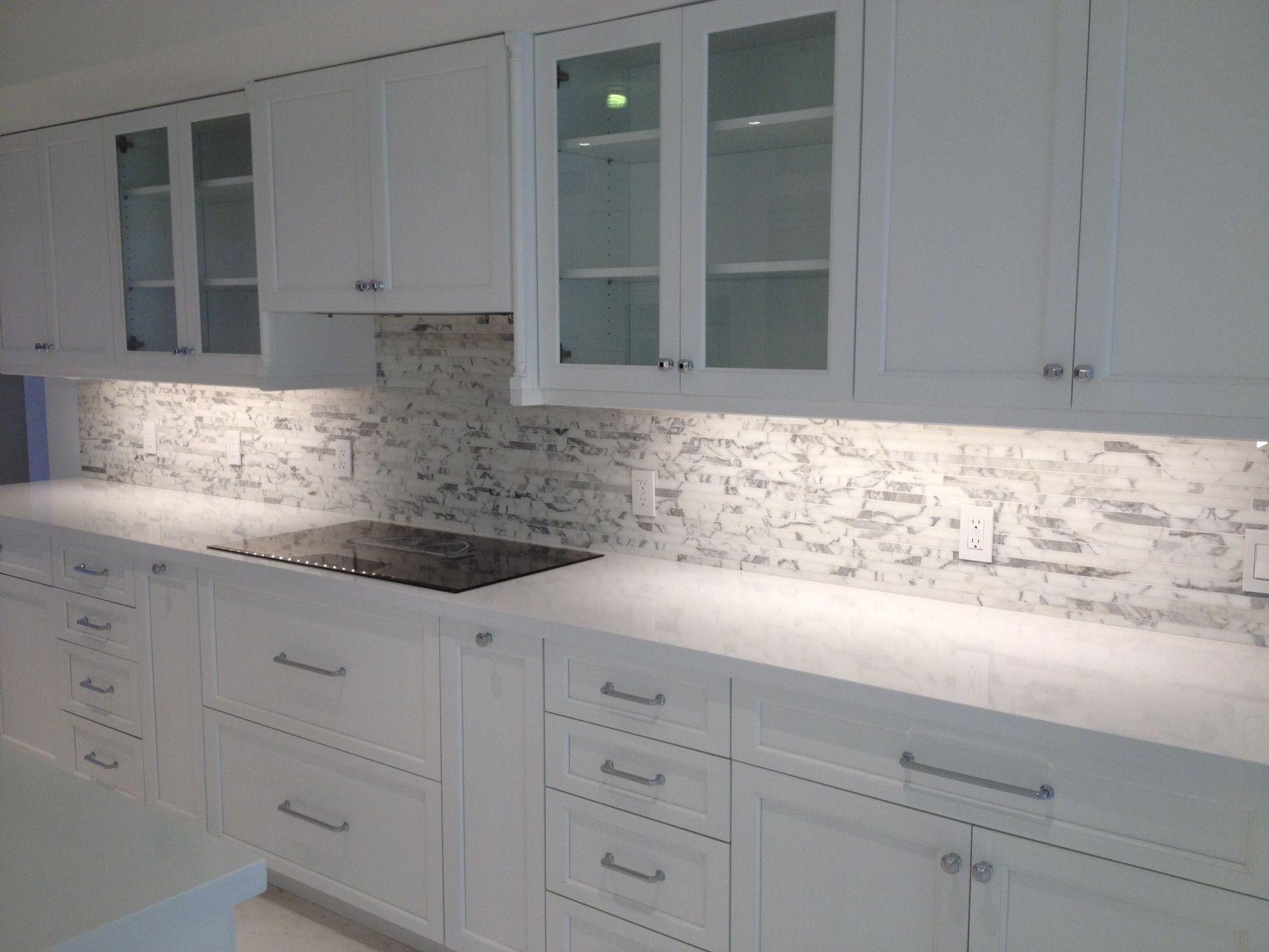 arctic snow quartz countertops calacatta marble mosaic