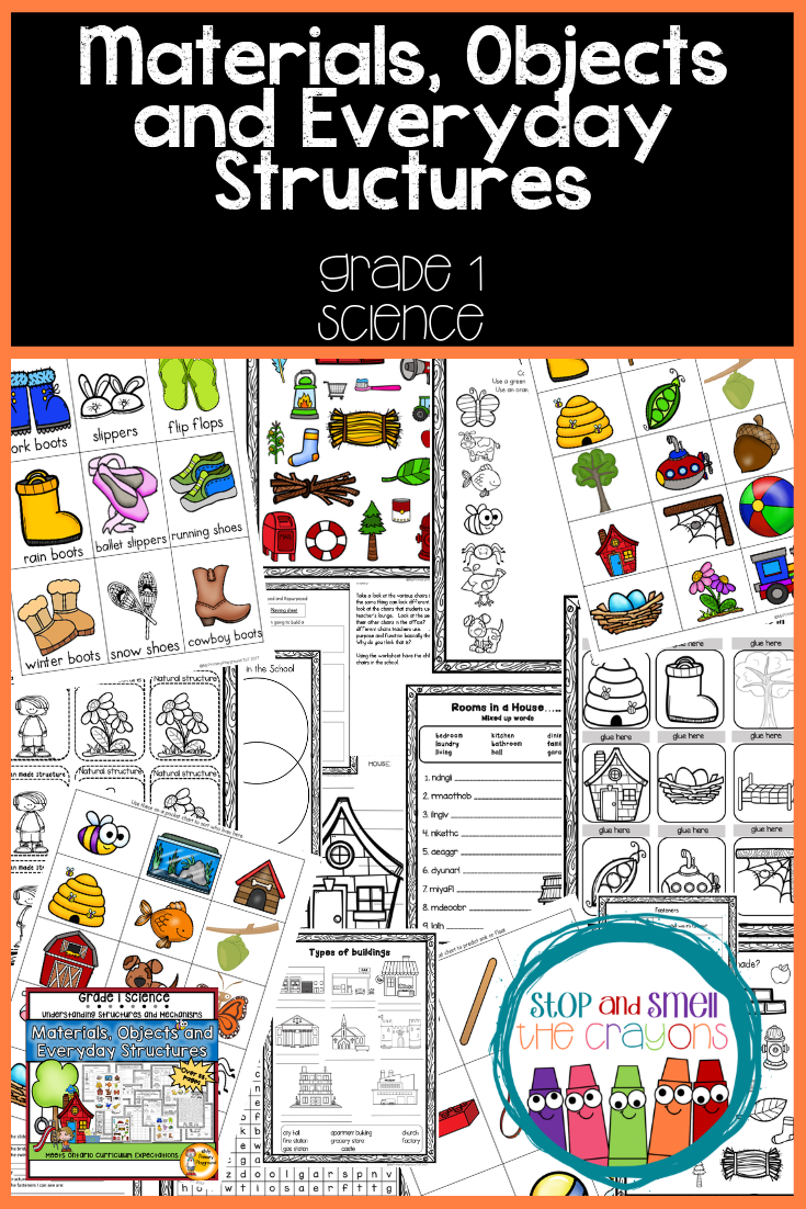 Materials Objects and Everyday Structures Grade 1 Science Unit   Science  teaching resources [ 1102 x 735 Pixel ]