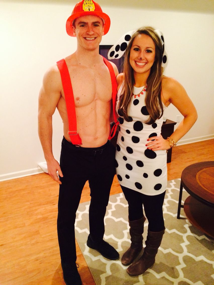 Firefighter and Dalmatian couple costume for Halloween