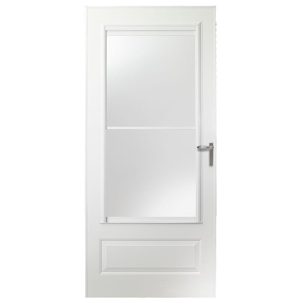 EMCO 30 In. X 80 In. 300 Series White Universal Self Storing Aluminum Storm  Door With Nickel Hardware E3SN30WH   The Home Depot