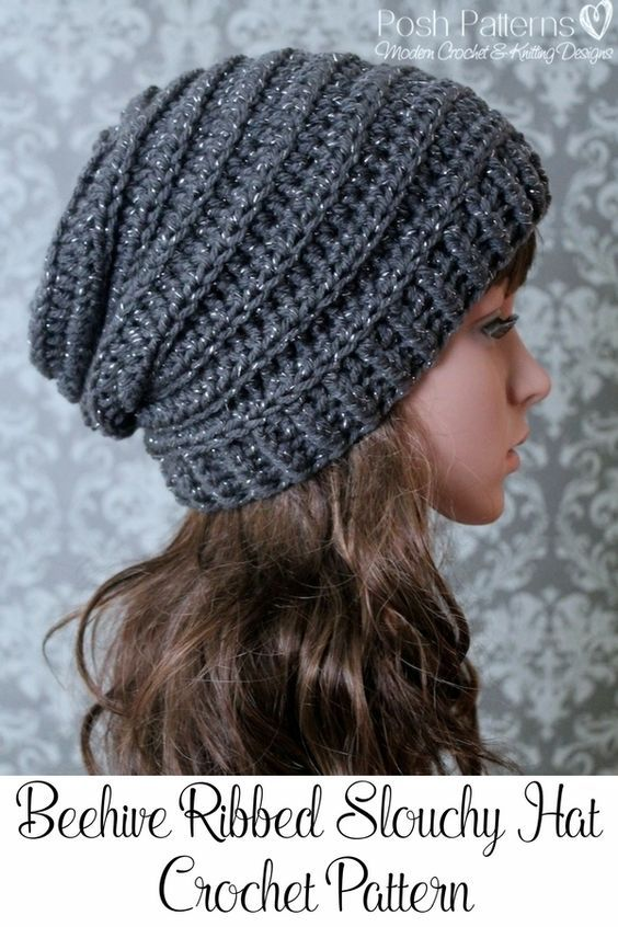 421686e0e6b Crochet PATTERN - Easy Crochet Pattern - Crochet Slouchy Hat Pattern -  Ribbed…