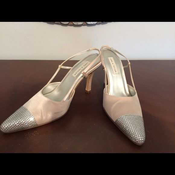 Beautiful Cream satin Starlet Crystal toe, size 7 Lord &Taylor satin show with crystal embellished toe. Perfect condition , no stains Lord & Taylor Shoes Heels