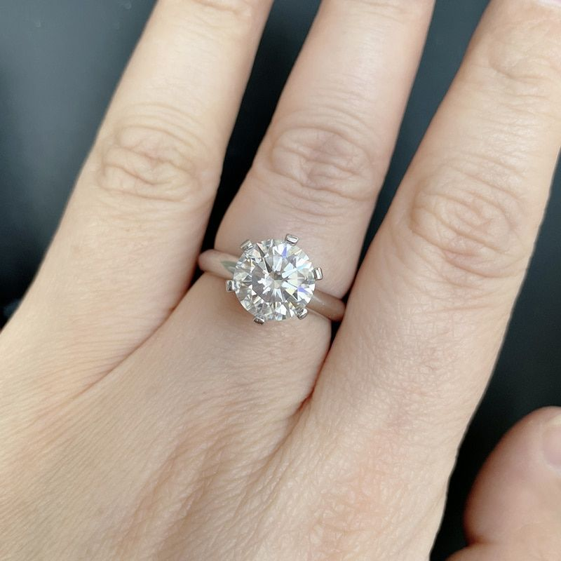 925 Sterling Silver Moissanite  Diamond  Solitaire Ring Diamond Stone Ring Birthday Gift for Her Anniversary Gift Big Discount