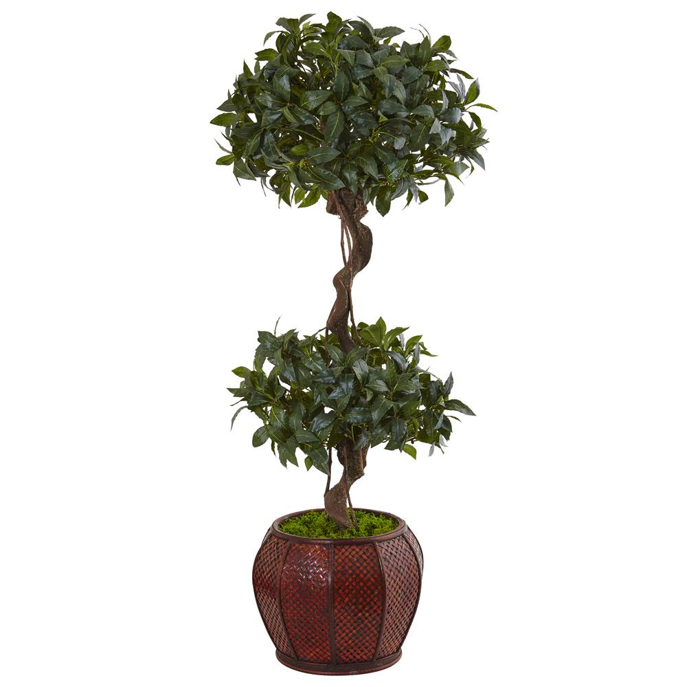 Indoor sweet bay double topiary artificial tree in round wood