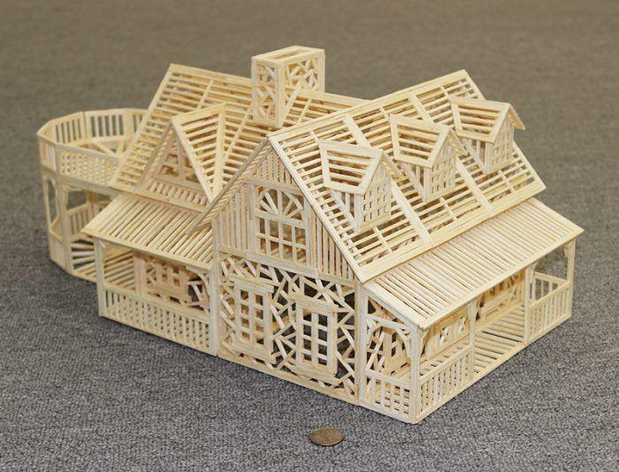 Balsa Til A Lage Modell Med Popsicle Stick Crafts House Popsicle Stick Houses Popsicle House