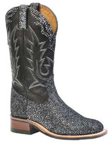 17960765072 Womens Boulet Black Stingray Square Toe Cowboy Boots | AA Callisters ...