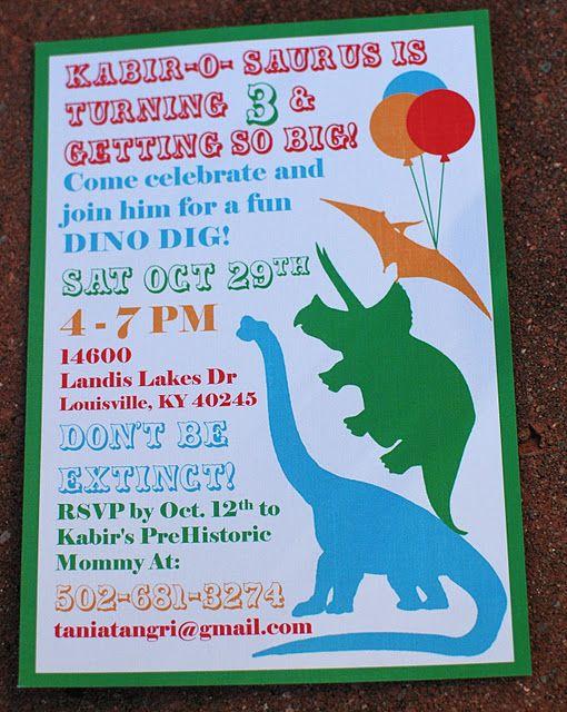 Dino Party Invite