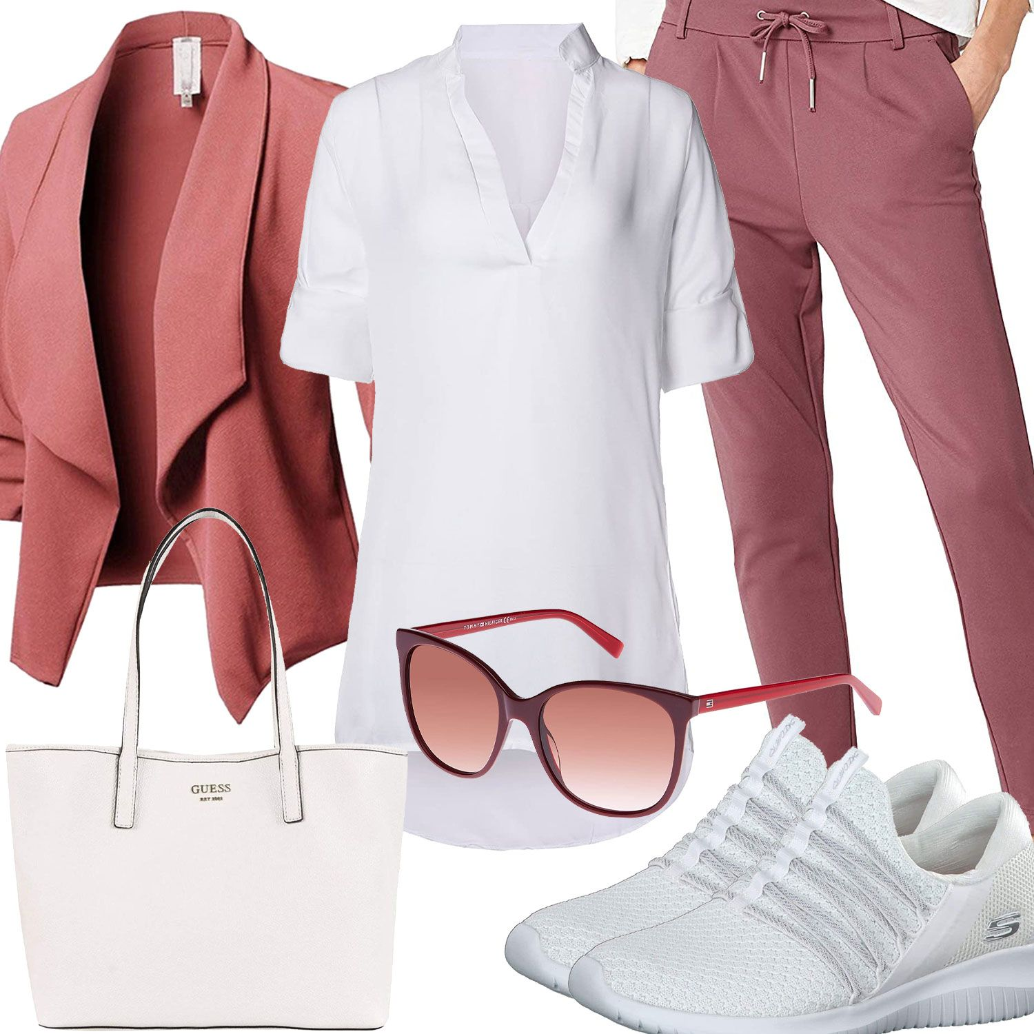 Weisses Damenoutfit Mit Altrosa Blazer Und Hose Outfits4you De In 2020 Outfit Lassiges Outfit Frauenoutfits