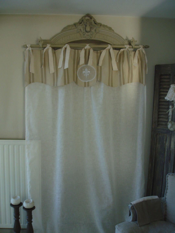 Magnifique rideau cantonnière en toile à matelas et voile : Textiles ...