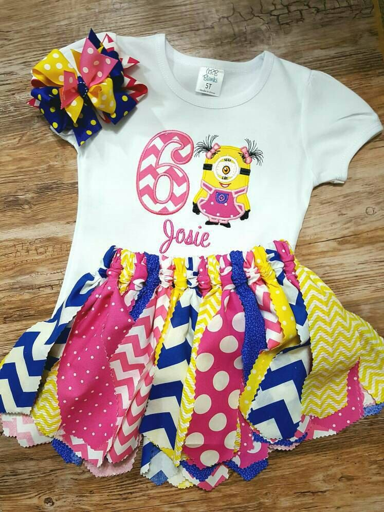 Girls Minion 2nd Birthday Shirt Or Onesie With Matching Fabric Tutu Outfit Personalized Can