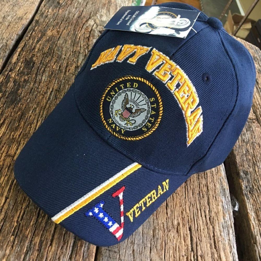 BLUE US Navy VETERAN LICENESED Embroidered Ball Cap Baseball Cap Hat