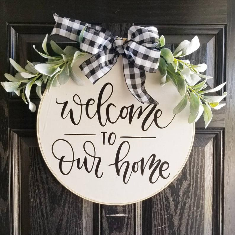 Welcome To Our Home Hoop Wreath Farmhouse Wall Decor Etsy In 2020 Door Signs Diy Wooden Door Signs Farmhouse Wall Decor