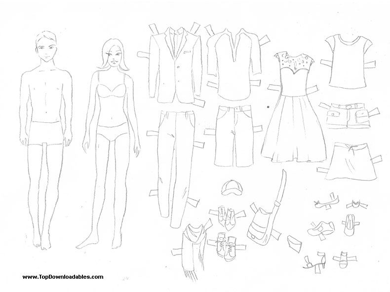 man and woman family paper doll coloring page family arts and crafts paper dolls printable. Black Bedroom Furniture Sets. Home Design Ideas