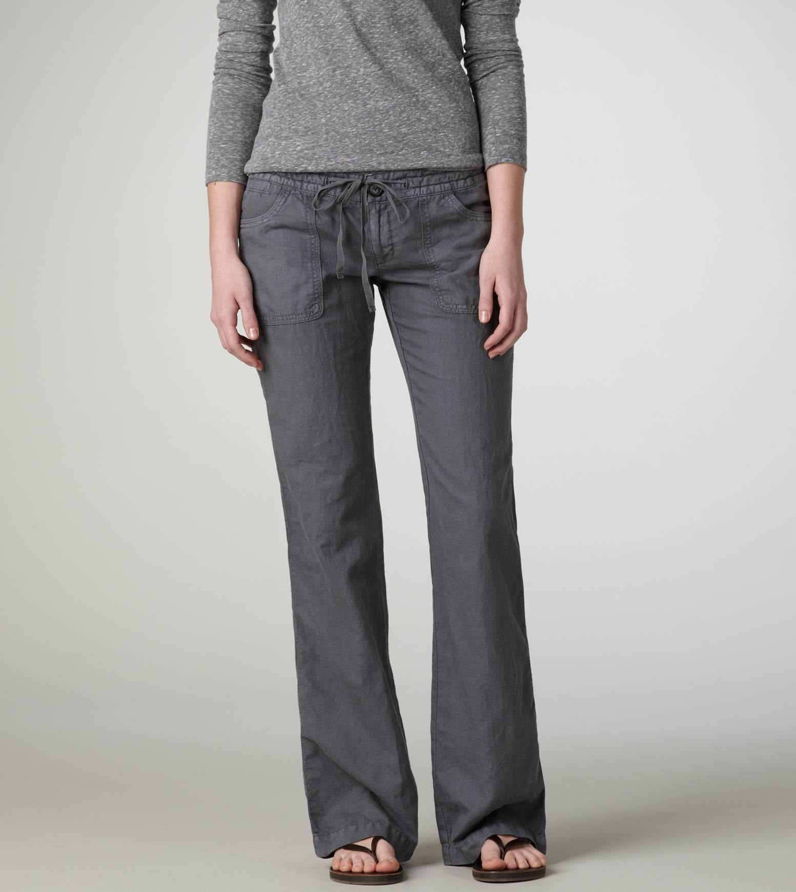345464f096acad Linen Pants...want some of these for work this summer!! Gray, Black, Brown,  and a white pair...maybe even red!!