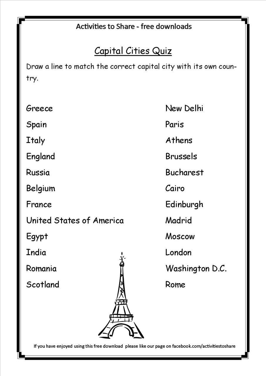 States And Capitals Quiz Printable Picture Of Dl34 Capital Cities Quiz State Capitals Quiz States And Capitals United States Capitals