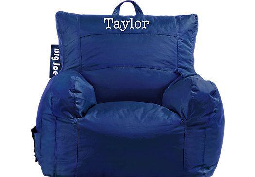 Awe Inspiring Personalized Big Joe Sapphire Dorm Bean Bag Chair Home Gamerscity Chair Design For Home Gamerscityorg