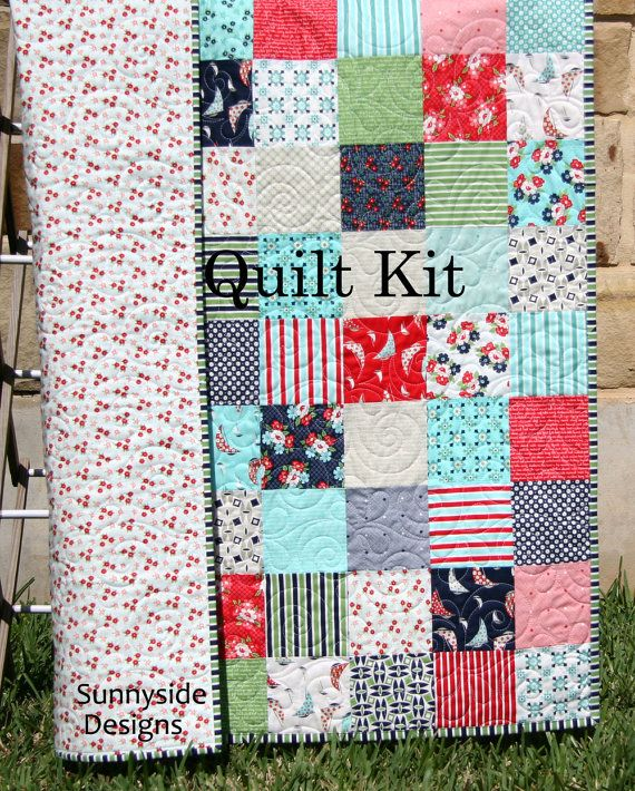 Daysail quilt kit bonnie and camille moda fabrics green red blue daysail quilt kit bonnie and camille moda fabrics green red blue aqua cream retro flowers baby size crib blanket diy do it yourself solutioingenieria Images